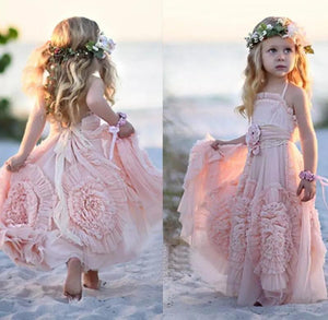 2019 Princess A Line Lovely Long Hand-Made Flower Chiffon Flower Girl Dresses RS672