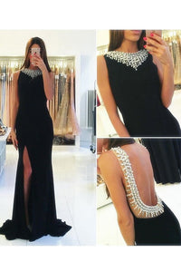 2019 Sexy Open Back Prom Dresses Scoop Chiffon With Beads And Slit