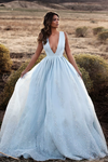 2019 Tulle Prom Dresses A Line V Neck With Applique And Beads Sweep Train