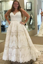 Load image into Gallery viewer, Plus Sizes Ivory Lace Open Back Long Modest Wedding Dresses Bridal Dresses