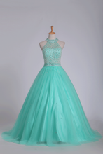 Load image into Gallery viewer, 2019 Mint Ball Gown High Neck Beaded Bodice Prom Dresses Tulle Floor Length