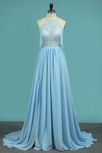 2019 Halter Chiffon A Line Prom Dresses With Applique And Slit Sweep Train