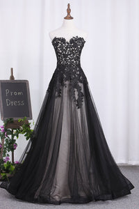 2019 Sweetheart A Line Black Prom Dresses Tulle With Applique Floor Length
