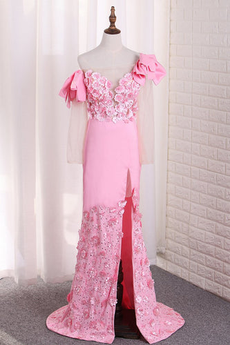 2019  Mermaid Elastic Satin Off The ShoulderWith Handmade Flower And Slit Sweep Train