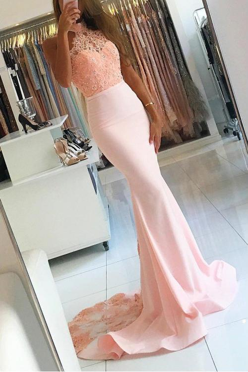 Pink Long Sexy Backless Mermaid Satin Sleeveless Lace High Neck Beads Prom Dresses RS393