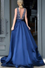 Load image into Gallery viewer, Formal Deep V-Neck Open Back Long Beading Satin Evening Dresses Prom Dresses