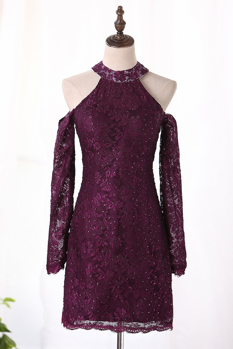 2019 Sheath High Neck Lace Cocktail Dresses Open Back Long Sleeves
