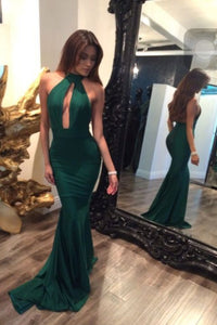 Green Mermaid Backless Prom Dresses,Sexy Evening Gowns For Teens