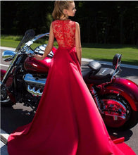 Load image into Gallery viewer, New A-Line Appliques Beads Floor Length Deep V-Neck Red Sexy Elegant Prom Dresses RS484