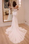 Sheath Off-the-Shoulder White Mermaid Chiffon Lace Appliques Beach Wedding Dresses RS328