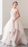 Gorgeous A-line V-neck Spaghetti Straps Long Wedding Dress RS543