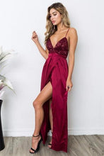 Load image into Gallery viewer, Sheath V-neck Sequined Silk-like Satin Ankle-length Split Front Backless Prom Dresses RS389