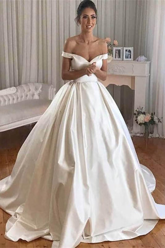 Simple Princess Ivory Ball Gown Sweetheart Satin Off the Shoulder Wedding Dresses RS193
