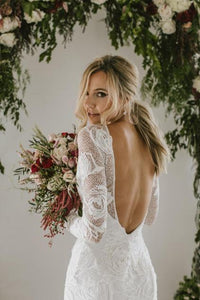 Sheath A Line Long Sleeves Ivory Rustic Lace Backless Scoop Neck Beach Wedding Dresses RS726
