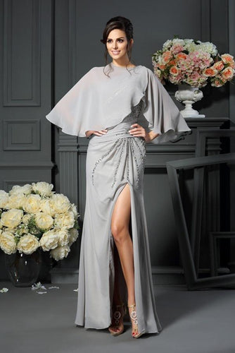 Elegant A-Line Grey One Shoulder Sleeveless Beads Slit Chiffon Mother of the Bride Dresses RS224