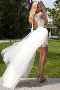 Sheath Scoop Neck Ivory Lace Tulle Detachable Ruffles Open Back Wedding Dresses RS738