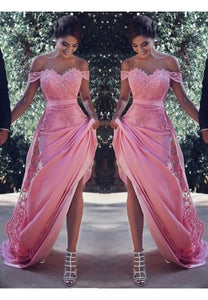 Pink Sheath Off-the-Shoulder Sweep Train Prom Dress with Lace Sash Ruffles RS779