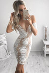 Tight Off-the-Shoulder V Neck Lace Short Satin Homecoming Dress with Appliques RS660