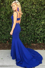 Load image into Gallery viewer, Royal Blue Scoop Mermaid Sleeveless Backless Beads Spandex Prom Dresses RS618