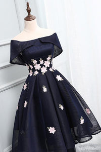 2019 Chic Off-the-Shoulder Appliques Asymmetrical Short High Low Homecoming Dress
