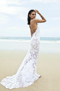 Beach Backless Sexy Mermaid Lace White Open Back Halter V-Neck Summer Wedding Dress RS698