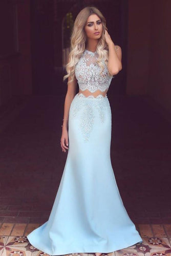Elegant Two Piece Mermaid Blue Lace High Neck Cap Sleeve Satin Prom Dresses RS419