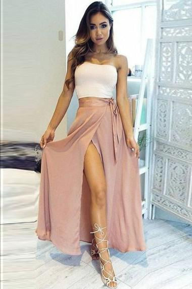 A-Line Two Piece Strapless Ankle-Length High Split Sleeveless Pink Chiffon Prom Dresses uk