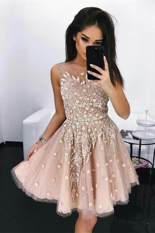 Modest A-Line Round Neck Short Blush Beads Unique Illusion Pleats Homecoming Dresses RS682