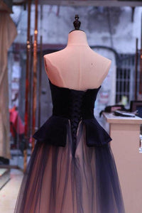 A Line Ombre Blue Tulle Long Prom Dress Unique New Style Strapless Evening Dress RS840