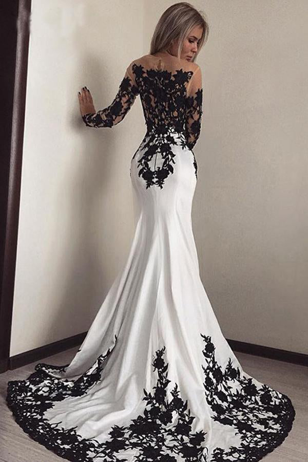 Elegant White Black Lace Appliques Mermaid Long Sleeves Satin Prom Dresses RS516