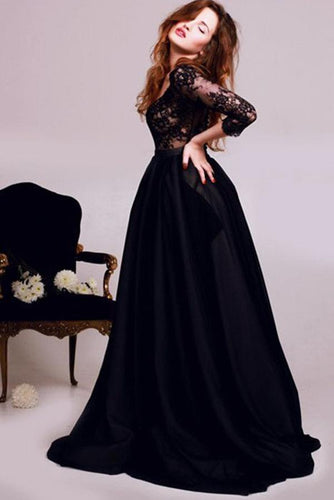 New Style Black 3/4 Sleeves Lace Satin V-Neck A-Line Floor-Length Evening Dresses RS282