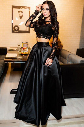 Two Piece Scoop A-Line Bateau Long Sleeves Black Floor Length Prom Dresses with Lace RS343