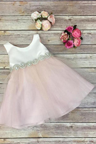 2019 Scoop Bowknot Knee-length Ivory Organza Beads Sleeveless Flower Girl Dresses RS673
