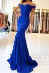 Royal Blue Long Mermaid Off the Shoulder Sweetheart Satin Pretty Prom Dresseses RS90