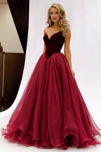 2019 Princess V-Neck Organza Sleeveless Open Back Ruffles Burgundy Prom Dresses RS696