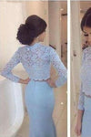 Baby Blue Lace Two Pieces Mermaid Long Sleeve Sexy Prom Dress Dresses for Prom PD190446