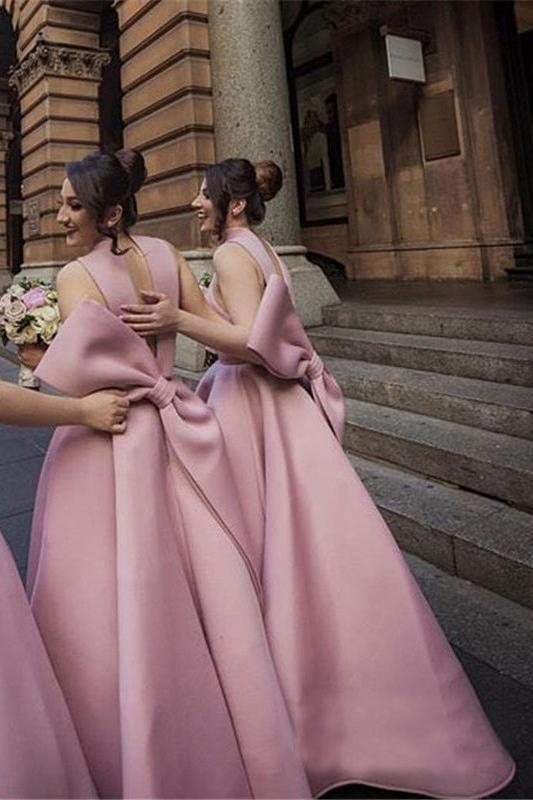 Ball Gown High Neck Satin V Neck Bridesmaid Dresses with Bowknot, Wedding Party Dress SRS15559