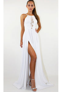 White Backless Long Prom Dress Split Spaghetti Strap Party Maxi Dress