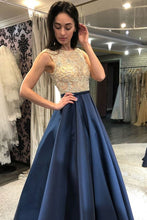 Load image into Gallery viewer, Modest Beading Blue Long A-Line Elegant Satin Prom Dresses Party Dresses