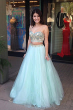 Load image into Gallery viewer, Cute Spaghetti Straps 2 Pieces Long Mint Beading Tulle Prom Gowns Prom Dresses