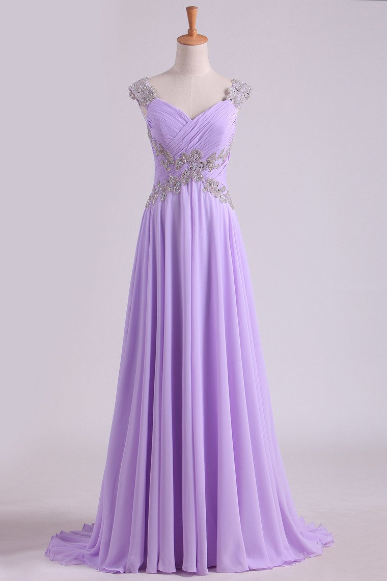 2019 Pom Dresses Off The Shoulder Floor Length Chiffon Beaded