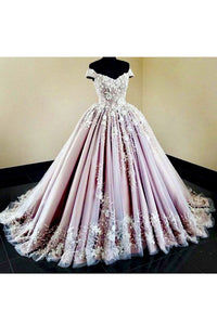 2019 Tulle Off The Shoulder Prom Dresses With Applique Ball Gown Sweep Train