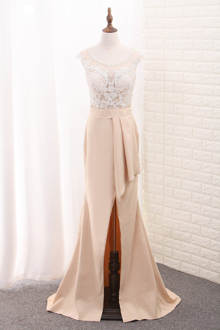 2019 Scoop Prom Dresses Mermaid With Applique And Beads Sweep Train