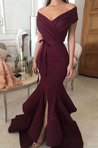 2019 Unique Mermaid Off The Shoulder Ruffled & Split Burgundy Chiffon Long Prom Dresses Evening Dresses