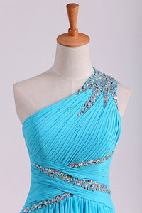 2019 One Shoulder Prom Dresses A Line Chiffon With Beads And Ruffles