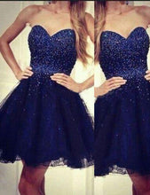 Load image into Gallery viewer, Modern Sweetheart A-line Beading Navy Blue Short Homecoming Dress RS442