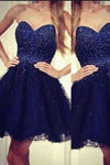 Modern Sweetheart A-line Beading Navy Blue Short Homecoming Dress RS442