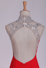 Load image into Gallery viewer, 2019 Red High Neck Prom Dresses Sheath/Colum With Beading Sweep Train