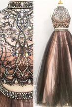 Load image into Gallery viewer, 2 Pieces Long Black And Pink Modest Beading A-Line Prom Dresses