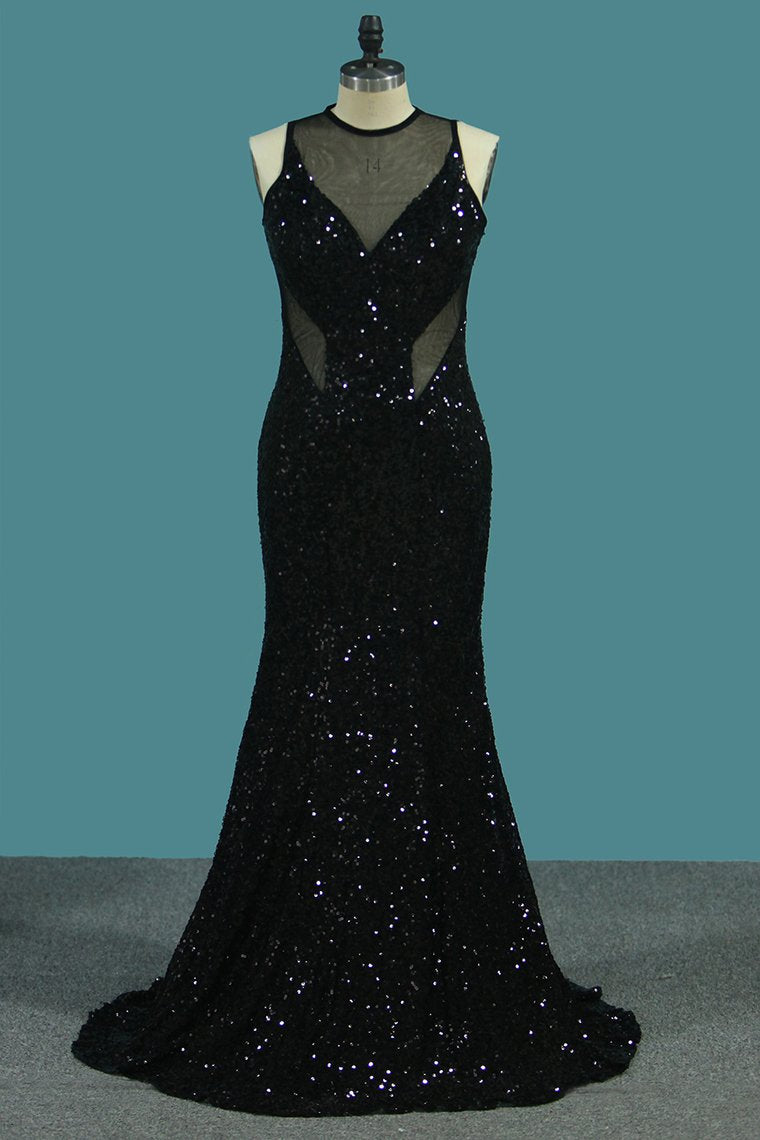 2019 Sheath Scoop Sequined Bodice Prom Dresses Floor Length Open Back